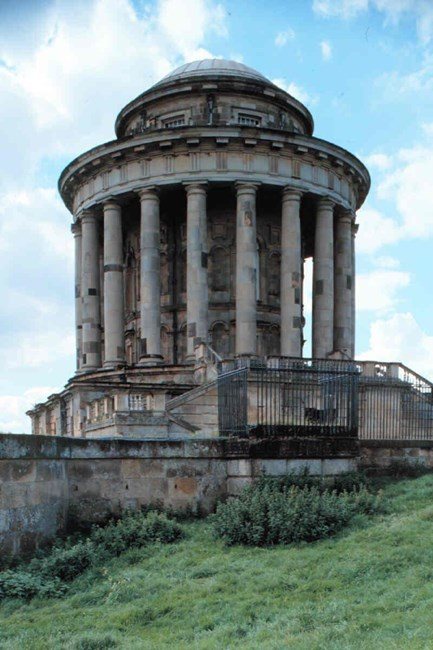 The Mausoleum and bastion wall with gates and railings, Kirk Hill, Castle Howard Estate, Henderskelfe - Ryedale