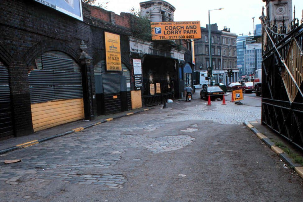 Walls and gates to Bishopsgate Goods Station, Shoreditch High Street E1 - Hackney