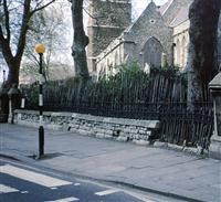 Walls, railings and gates to Church of St Mary, Lambeth Road SE1 - Lambeth