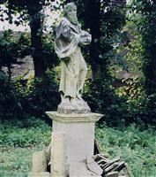 Four sculptures surrounding pond in Italianate Garden, Witanhurst, Highgate West Hill N6 - Camden