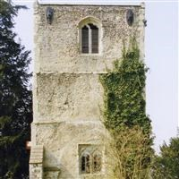Remains of old church tower of St Mary and All Saints Church, Thundridge - East Hertfordshire