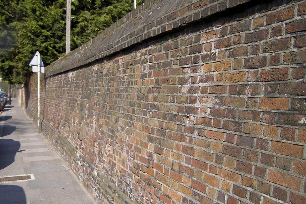South boundary wall to Bruce Castle Park, Lordship Lane, Tottenham N17 - Haringey