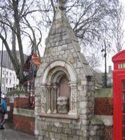 Drinking fountain set in wall of former St Mary's Churchyard, Whitechapel Road E1 - Tower Hamlets