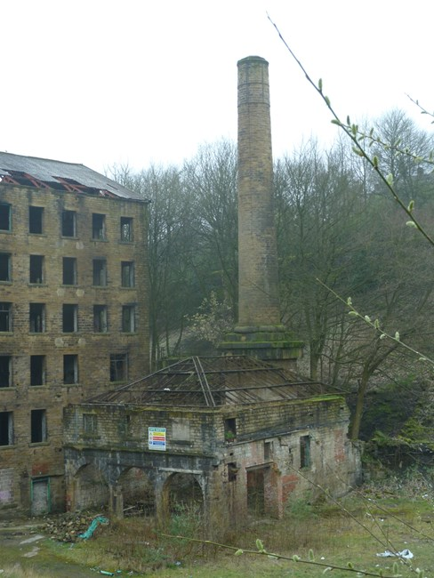 Former boiler house and attached chimney to north of Old Lane Mill, Old Lane - Calderdale