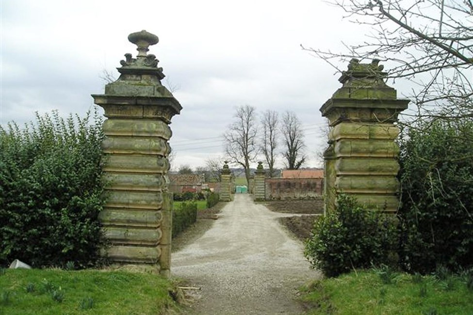 Walled garden gate piers to Central north-south Lane, Henderskelfe - Ryedale