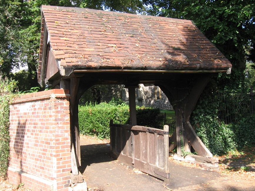 Lych gate to south of Church of St Mary, Church Walk, Hayes - Hillingdon