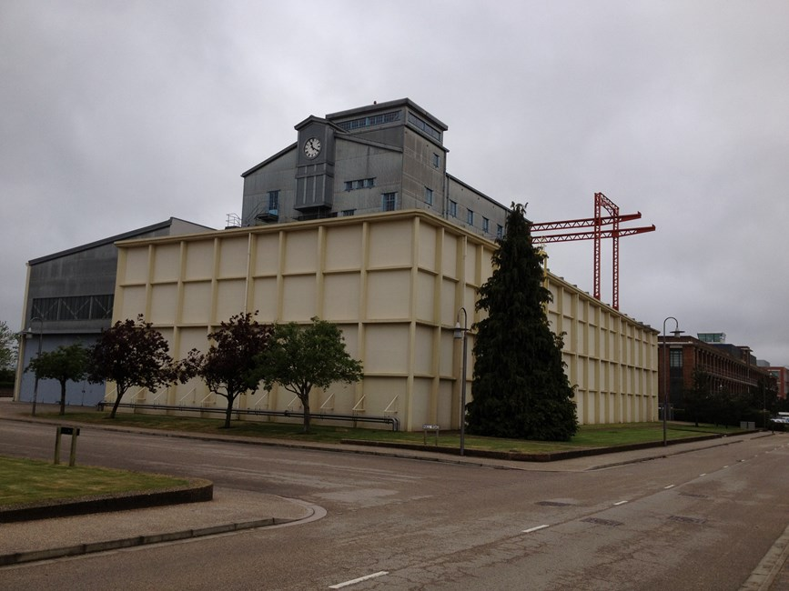 Building Q121 [24 foot wind tunnel] at former Royal Aircraft Establishment site, Hall Road - Rushmoor