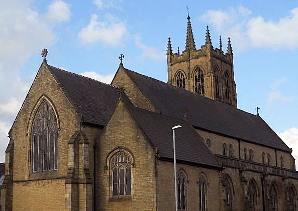 Roman Catholic Church of St Chad and presbytery, Cheetham Hill Road, Strangeways - Manchester