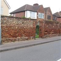 Walls in front of numbers 52-58 (even) and along west end of property, Church Road, Hillingdon - Hillingdon