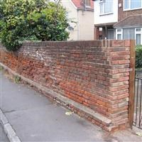 Wall in front of numbers 40 to 50 (even), Church Road, Hillingdon - Hillingdon