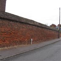 Wall running south from the Old Gatehouse west along Church Road, Hillingdon - Hillingdon