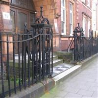 Gates, piers and railings at Western Block of Number 39 (Beaufoy School Technical Block), Black Prince Road, Vauxhall SE11 - Lambeth