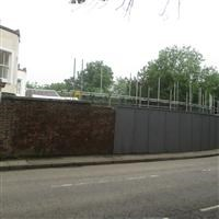 Wall to west and north of Springbok House, Wood Lane - Harrow