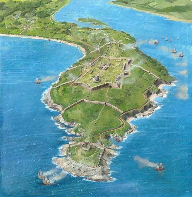 Aerial View, Pendennis Castle, Falmouth, Cornwall
