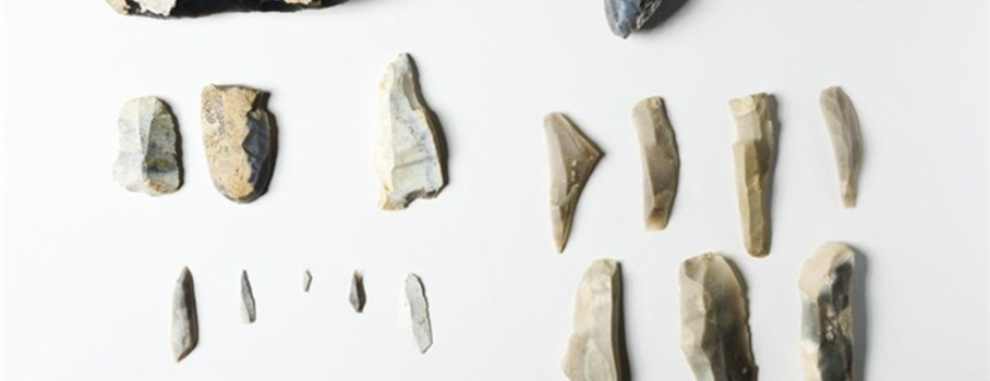 This collection of flints shows the range of stone tools used by people during the Mesolithic (Middle Stone Age). It includes an axe (top left); a flint core (top right); end scrapers (middle left); burin (middle centre); blades (middle right); microliths (bottom left) and blades (bottom right). The axeheads were fixed into a wooden handle and used like axes today. The flint core was the raw material from which other tools could be made. Scrapers were used for cleaning animal skins in the process of making leather. Burins were used for carving or engraving wood and bone, like a chisel. Blades were used as knives and microliths were tiny flints that were glued/fixed to wooden shafts to make arrows or spears for hunting.
