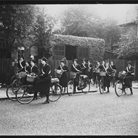 District nurses with their bicycles, Willesden District Nursing Association, 15 Park Avenue, Willesden Green, Greater London