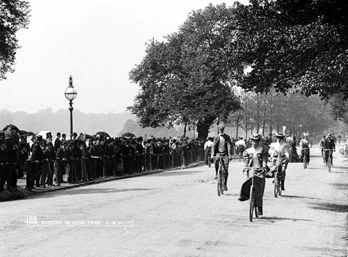 Cyclists in Hyde Park, Westminster, London