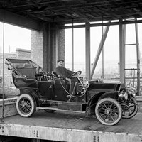 Car lift at Mitchell's Motors, Wardour Street, Westminster, Greater London
