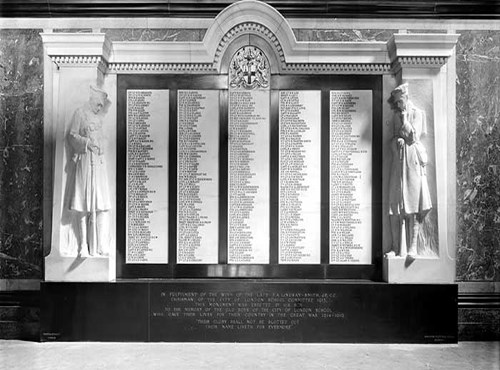 War memorial, City of London School for Boys, Victoria Embankment, City of London