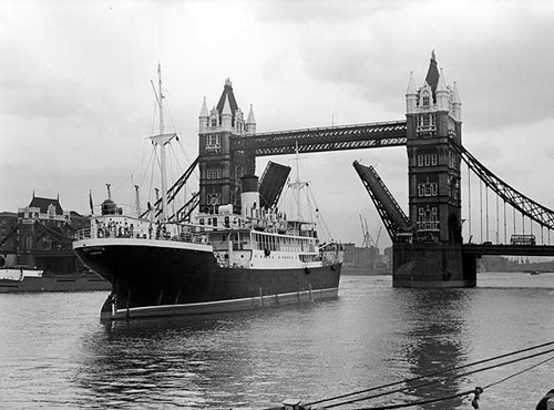 The Baltavia passing Tower Bridge, Stepney, London