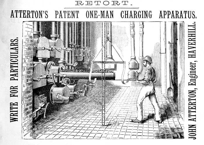 An advertisement from Newbiggin's Handbook for Gas Engineers and Managers (5th edition, 1889). The Victorians' faith in engineering produced solutions to every need. The advert suggests that this gadget will increase efficiency in the gas-manufacturing industry, allowing one man to do the work of a team.