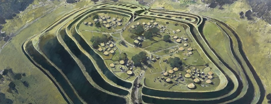 This is a reconstruction drawing of what Old Oswestry Hillfort might have looked like. The hillfort has ramparts made of five earthen banks and ditches. There are two entrances, one on the east and one on the west. The inner two banks and ditches are the earliest and probably dating to around the sixth century BC. The visible earthworks represent several phases of construction. Each phase increased the defensive capabilities and status of the site. Excavations during the 1940s revealed that the site was in use from the Late Bronze Age through to the end of the Iron Age. The earliest occupation of the site being a Late Bronze Age settlement of round huts. A Roman phase at the site is indicated by finds of pottery and tile, but exactly where their activity was concentrated is uncertain. This site is now in the care of English Heritage (20100.  Read detailed archaeological description.