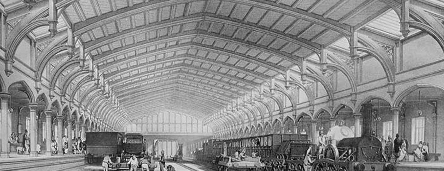 The Bristol terminus of the new Great Western Railway, completed in 1840, was designed by I K Brunel in a 15th-century style: note the flat arches and hammer beam roof.  These original platforms are no longer seen by the travelling public who use the 1865/1876 'joint' station.  Parts of the GWR are being considered for World Heritage Site status.