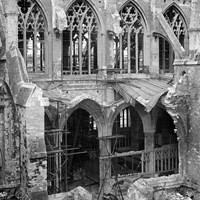Bomb damage, Exeter Cathedral, Exeter, Devon