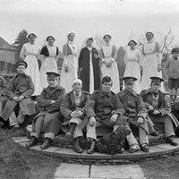 Soldiers and nurses in the garden at Great Dixter, Northiam, East Sussex