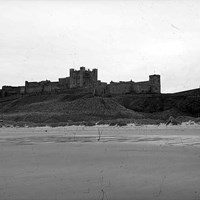 Bamburgh Castle and windmill, Northumberland