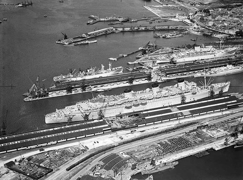 Queen Mary and other vessels in dock, Southampton