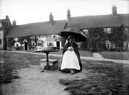 Fruit seller at Castle Green, Kenilworth, Warwickshire