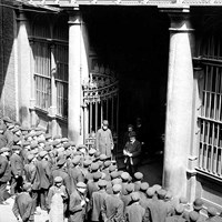 Queuing for work at Butler's Wharf, London