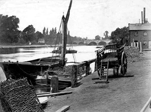 Coal barges at Kingston upon Thames, Greater London