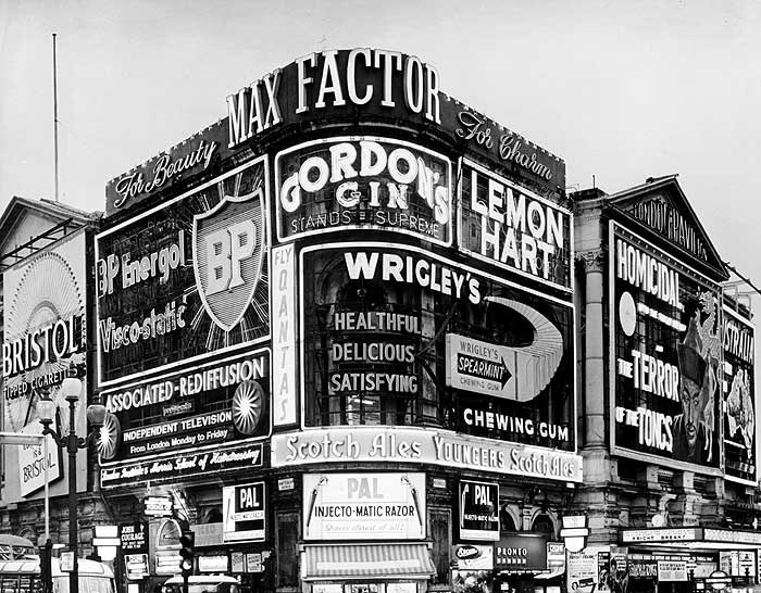 Advertising hoardings in Piccadilly Circus, London