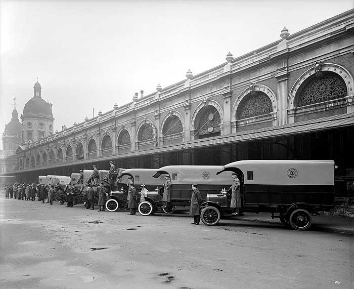 Delivery lorries at Smithfield Market, City of London