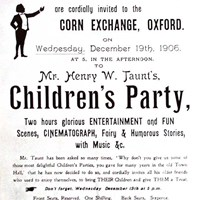 Poster for Taunt's children's party, Oxford, Oxfordshire
