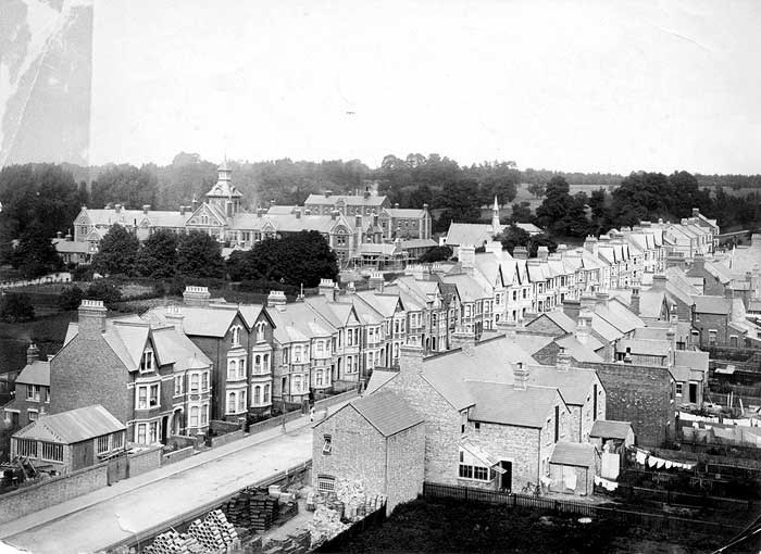 Looking along Divinity Road lined with new Victorian houses, taken from the tower of St Mary and St John's Church.