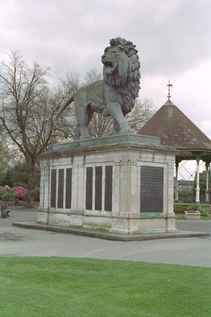 "The Maiwand Memorial was put up in 1886 in the form of a cast iron statue of an enraged lion. It is 3 times life size. The inscription reads ""This monument records the names and commemorates the valour and devotion of xi (11)officers and cccxviii (318) non-commissioned officers and men of the lxvi (66th) Berkshire Regiment who gave their lives for their country at Girisk, Maiwand and Kandahar during the Afghan campaign 1879-80   Read official list description."