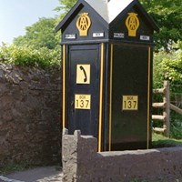 AA box at junction with New Road, Porlock, Somerset