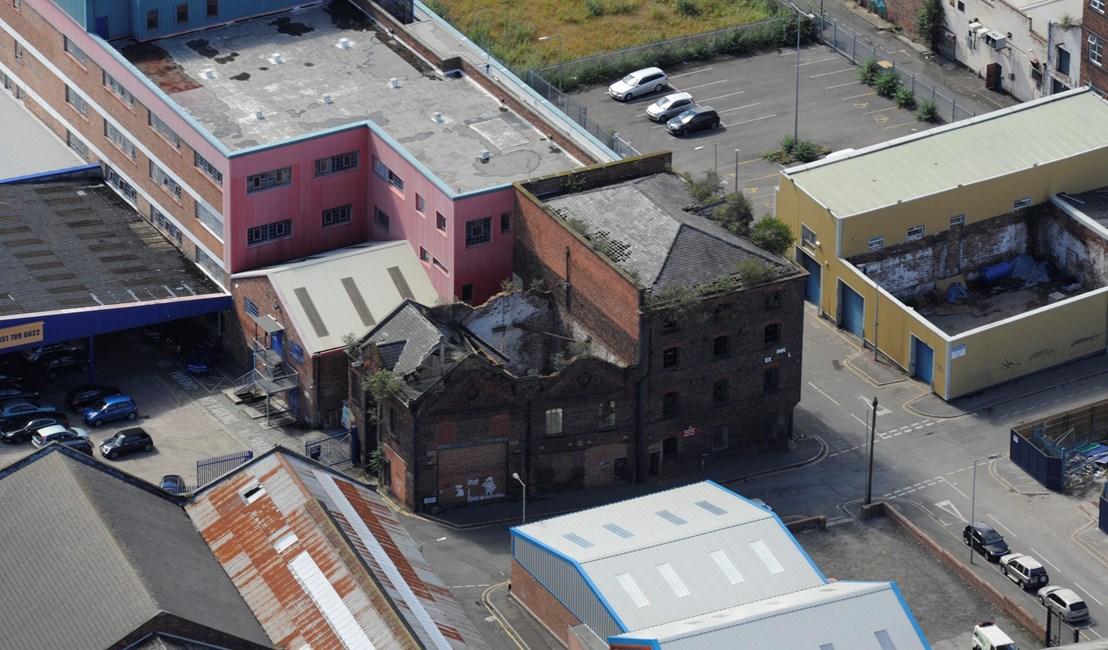 Aerial view of Norfolk Street warehouses before restoration work