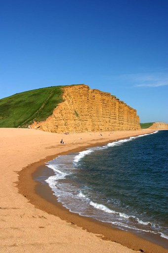 View of cliffs at West Bay, Dorset