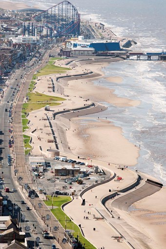 Aerial view from Blackpool Tower of the new seafront