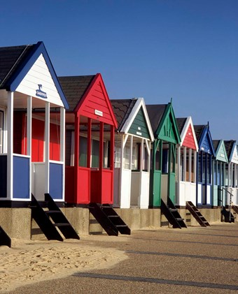 Row of classic beach huts at Southwold
