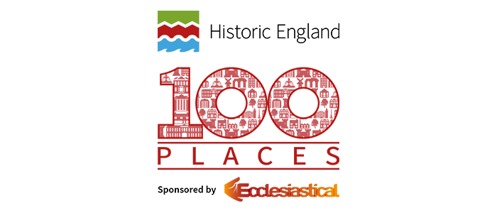 100 Places logo with partner logos Historic England and Ecclesiastical