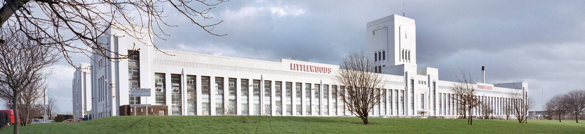 The front of the Littlewoods Pools building photographed in 2002.