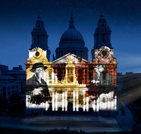 Light projection onto St Paul's Cathedral