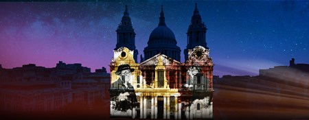 Artist's impression of light projections on St Paul's Cathedral