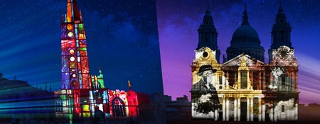 Artist's impression of light projections on Coventry Cathedral and St Paul's Cathedral