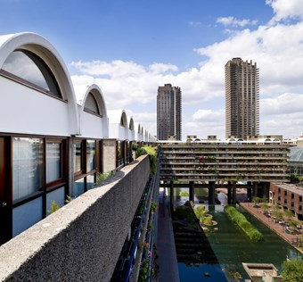 A digital colour photograph showing the edge of Andrewes House at the Barbican from a high vantage point.